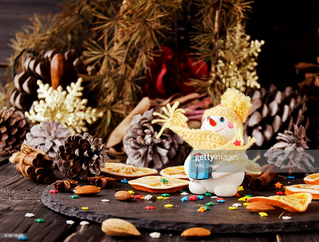 figurine Snowman on Christmas BACKGROUND , selective focus : Stock Photo