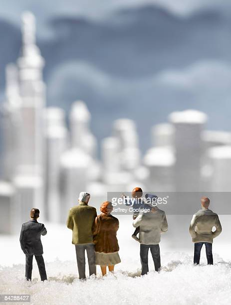 figurines and frozen city