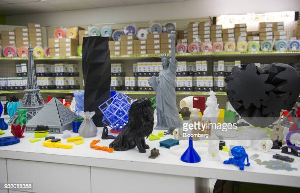 Figurines created with LulzBot 3D printers sit on display at the Aleph Objects Inc production facility in Loveland Colorado US on Wednesday March 14...