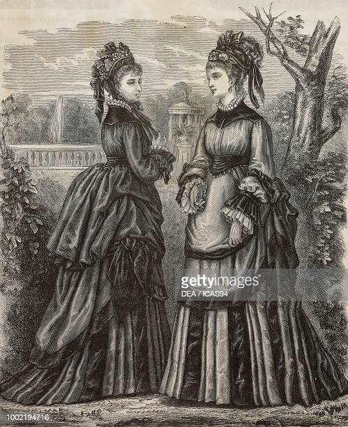 Figurines of women dressed in vicuna clothes engraving from La Mode Illustree No 46 November 16 1873