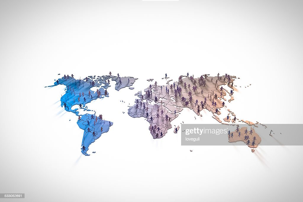 figurines standing on continents in world map : Stock Photo