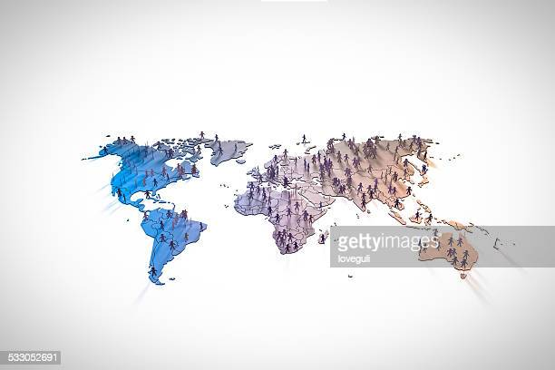 figurines standing on continents in world map - world map stock photos and pictures
