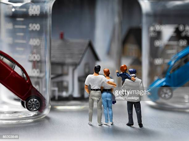 Figurines with Houses and Cars