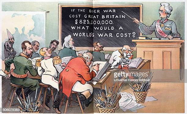 Figuring it out by Udo Keppler 18721956 artist published 1903 Illustration shows a classroom scene with the rulers of several countries as the...