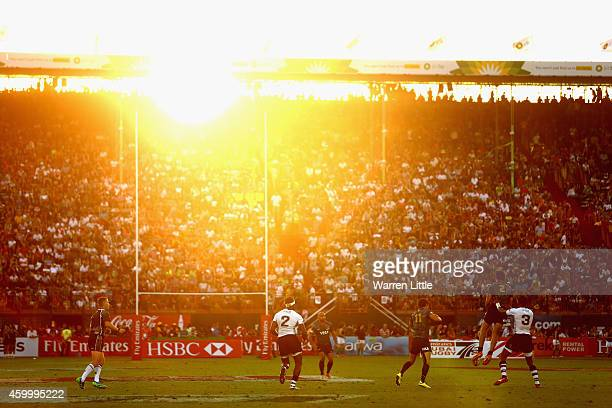 Fiji and Argentina battle it out during day one of the Emirates Dubai Sevens HSBC Sevens World Series on December 5 2014 in Dubai United Arab Emirates