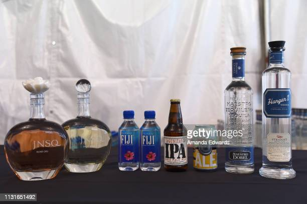 JNSQ Fiji and Hangar 1 products on display inside of the ATT Lounge during the 2019 Film Independent Spirit Awards on February 23 2019 in Santa...
