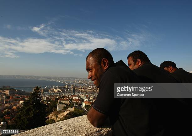 Fiji captain Mosese Raululi and teammates take in the view at the Basilique NotreDame de la Garde on October 4 2007 in Marseille France