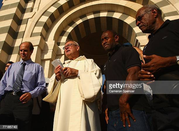 Fiji captain Mosese Raululi is welcomed with his team at the Basilique NotreDame de la Garde on October 4 2007 in Marseille France