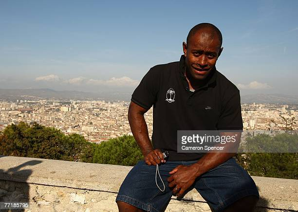 Fiji captain Mosese Rauluni poses for a photo at the Basilique NotreDame de la Garde October 4 2007 in Marseille France