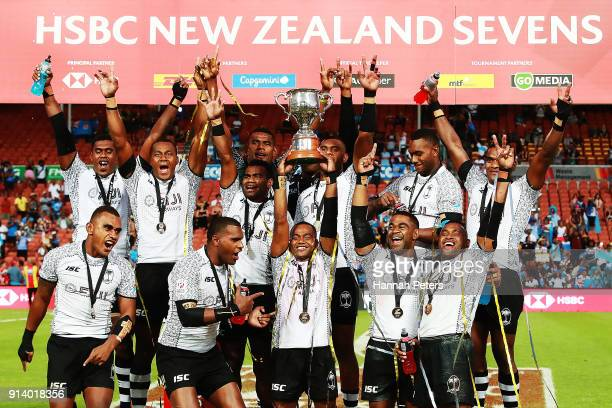 Fiji celebrate after winning the Cup final match between Fiji and South Africa the 2018 New Zealand Sevens at FMG Stadium on February 4 2018 in...
