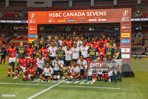 Fiji celebrate their Cup Final win with the Kenya and South Africa Squads after Game Cup Final Fiji vs Kenya Cup Final match at the Canada Sevens...
