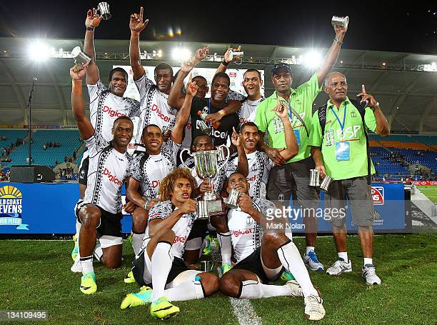Fiji celebrate victory after the Cup Final match between New Zealand and Fiji on day two of the Gold Coast Sevens World Series at Skilled Park on...