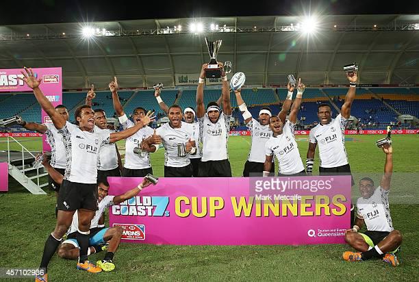 Fiji celebrate winning the 2014 Gold Coast Sevens Cup final match between Fiji and Samoa at Cbus Super Stadium on October 12, 2014 in Gold Coast,...