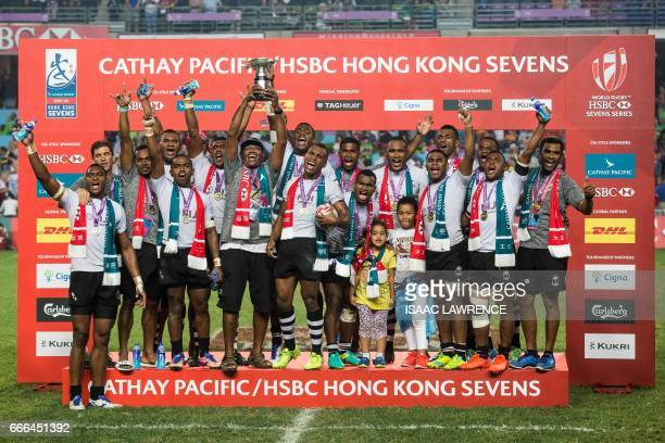 Fiji celebrate winning the Cup Final against South Africa on the third and final day of the Hong Kong Rugby Sevens Tournament on April 9 2017 / AFP...