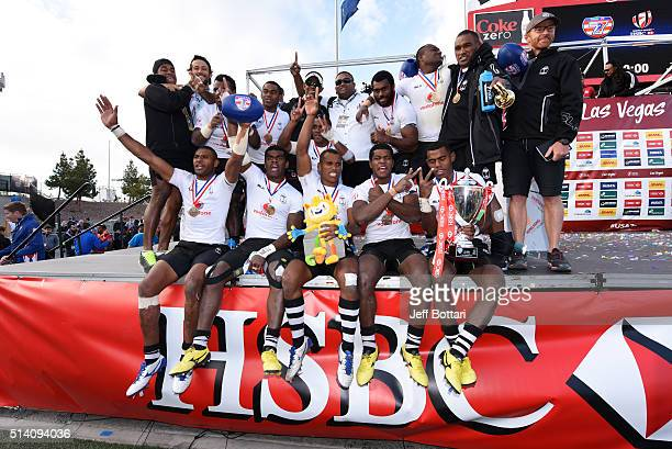 Fiji celebrates after winning the Cup Final against Australia 2115 during the USA Sevens the fifth round of the HSBC Sevens World Series at Sam Boyd...