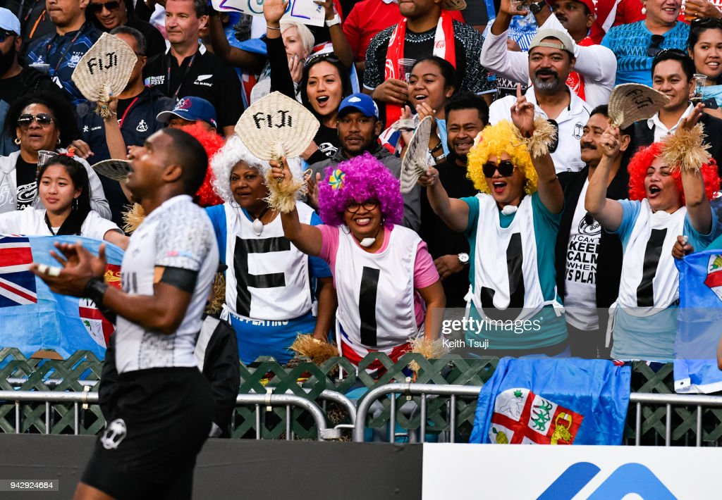 Fiji fans celebrate after Josua Vakurubabili of Fiji scores a try during their match against New Zealand on the second day of the Hong Kong Sevens on April 7, 2018 in Hong Kong.