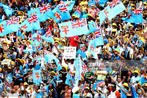 Fiji fans show their support during day two of the 2019 Hamilton Sevens at FMG Stadium on January 27 2019 in Hamilton New Zealand