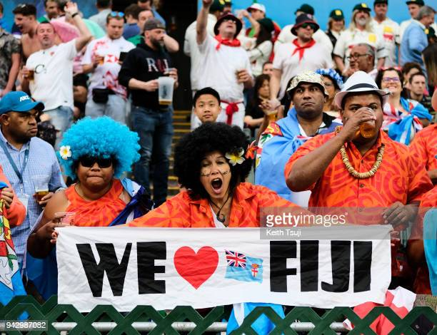 Fiji fans support their team during their match against New Zealand on the second day of the Hong Kong Sevens on April 7 2018 in Hong Kong