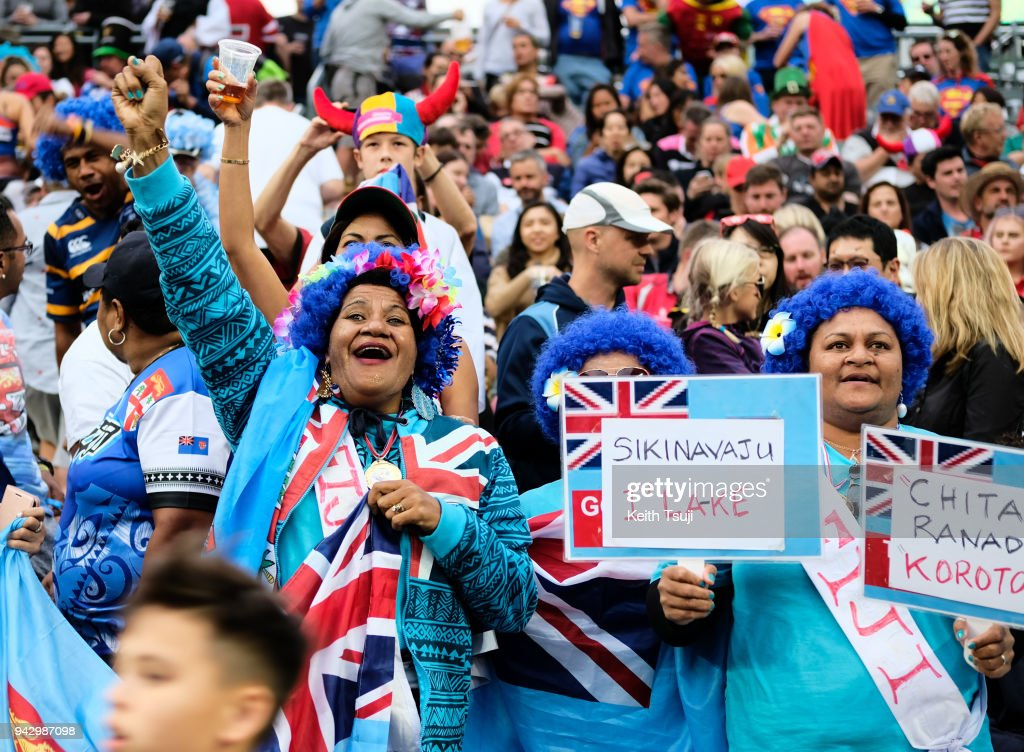 Fiji fans support their team during their match against New Zealand on the second day of the Hong Kong Sevens on April 7, 2018 in Hong Kong.