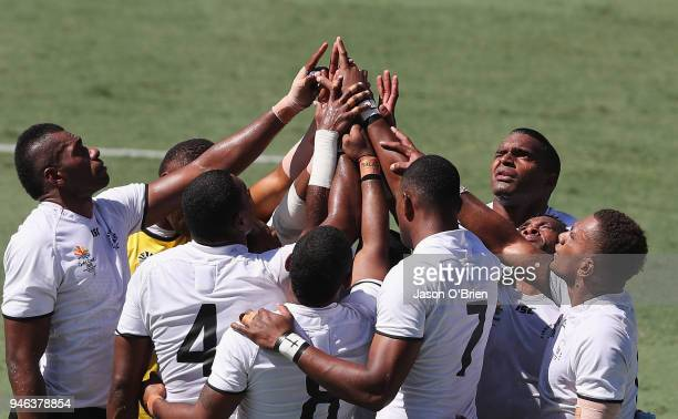 Fiji form a huddle during Rugby Sevens on day 11 of the Gold Coast 2018 Commonwealth Games at Robina Stadium on April 15 2018 on the Gold Coast...