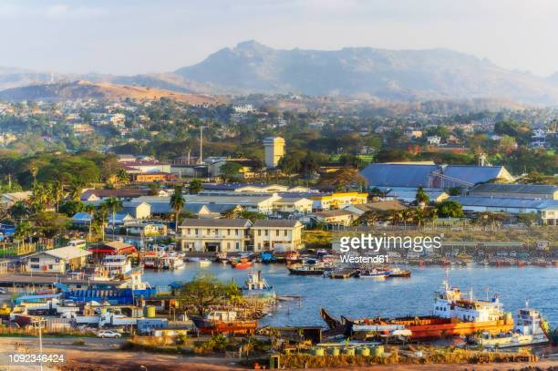 fiji islands, lautoka, aerial view of harbour - fiji stock pictures, royalty-free photos & images