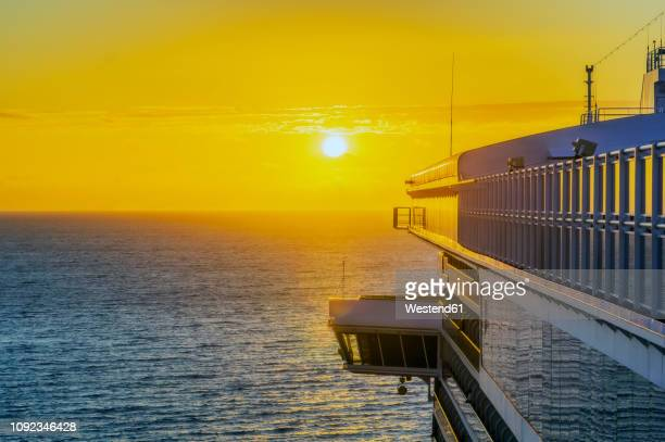 Fiji Islands, Lautoka, Cruise ship at sunset