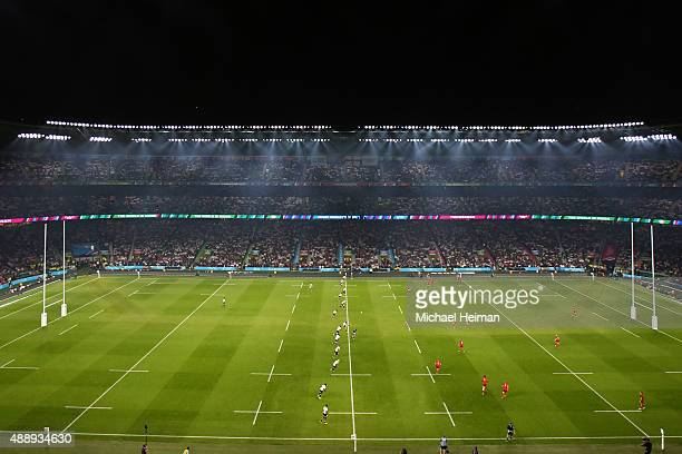 Fiji kick off during the 2015 Rugby World Cup Pool A match between England and Fiji at Twickenham Stadium on September 18 2015 in London United...