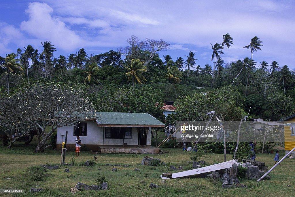 Fiji, Koro Island, Village Scene With House.