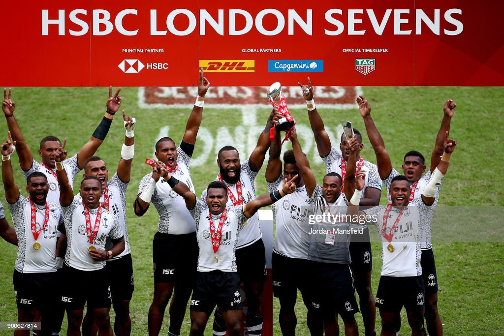 Fiji lift the trophy after victory in the Cup Final match between Fiji and South Africa on day two of the HSBC London Sevens at Twickenham Stadium on June 3, 2018 in London, United Kingdom.