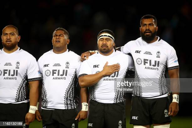Fiji line up for the anthem during the second test match between the Maori All Blacks and Fiji at Rotorua International Stadium on July 20, 2019 in...