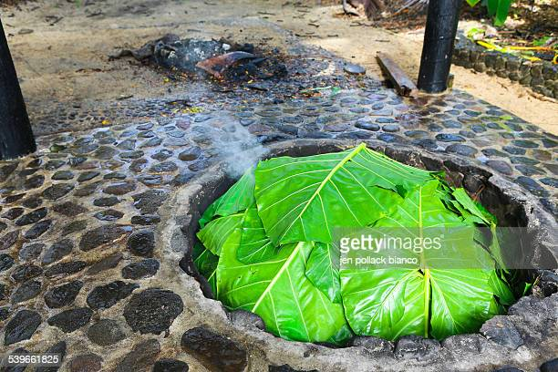 Fiji, Lovo Ritual, Green leaves covering fireplace