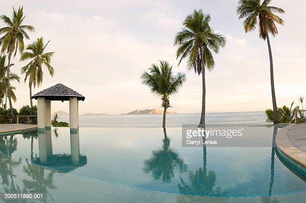 fiji, mamanuca islands, mana island, infinity pool and sea at dawn - western division fiji stock photos and pictures