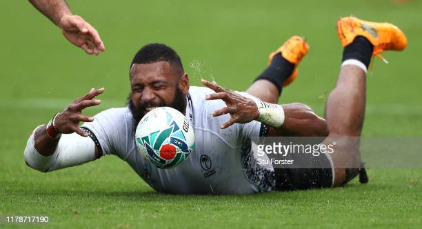Fiji player Waisea Nayacalevu reacts after knocking the ball on during the Rugby World Cup 2019 Group D game between Georgia and Fiji at Hanazono...