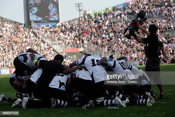 Fiji players after the IRB World Cup rugby quarter final between South Africa and Fiji.