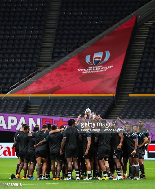 Fiji players hudle up during the Fiji Captain's Run at the Sapporo Dome on September 20 2019 in Sapporo Hokkaido Japan