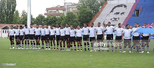 Fiji players line up for a team photo before the start of the IRB Junior World Championship match between Fiji and Tonga at Mario Battaglini Stadium...