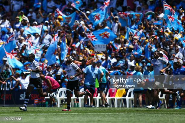 Fiji players take the field during the match between Fiji and Samoa at the 2020 HSBC Sevens at FMG Stadium Waikato on January 25, 2020 in Hamilton,...
