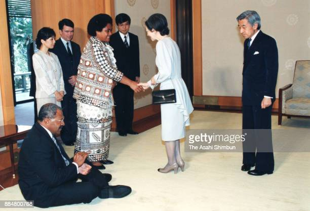 Fiji Prime Minister Sitiveni Rabuka greets with Emperor Akihito and Empress Michiko prior to their meeting at the Imperial Palace on October 24 1994...