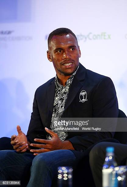 Fiji Rugby Sevens Captain Osea Kolinisau talks during Day 1 of the World Rugby via Getty Images Conference and Exhibition 2016 at the Hilton London...