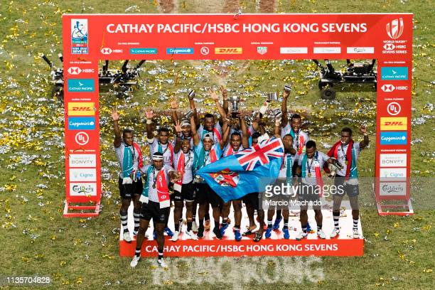Fiji Rugby Team celebrates after winning defeating France during the day three of the Cathay Pacific/HSBC Hong Kong Sevens Cup Final at the Hong Kong...