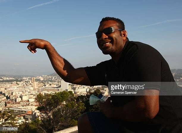 Fiji vicecaptain Kele Leawere poses while taking in the view at the Basilique NotreDame de la Garde on October 4 2007 in Marseille France