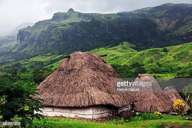 fiji, viti levu, traditional village navala - fiji stock pictures, royalty-free photos & images