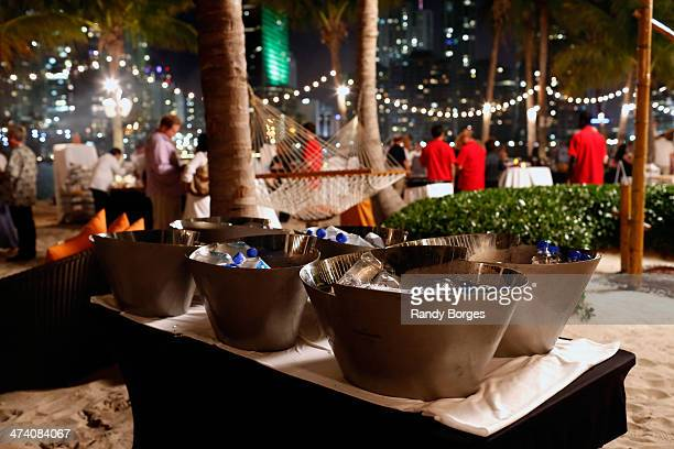 Fiji Water on display at Life's A Beach Then You Eat dinner hosted by Gaston Acurio Jonathan Waxman Aaron Sanchez Marcus Samuelsson Paul Kahan Hedy...