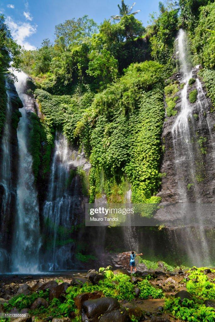 Fiji waterfall or Triple waterfall, Bali, Indonesia : Foto stock