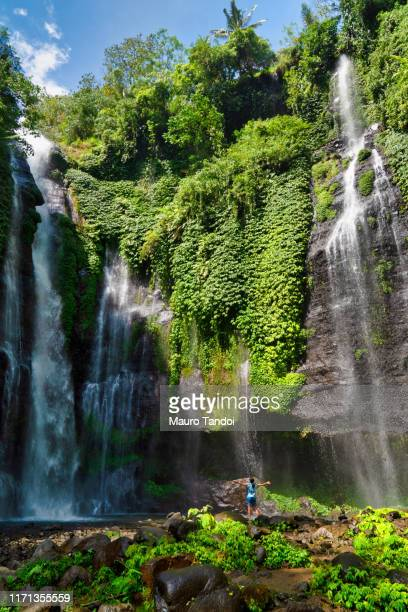 fiji waterfall or triple waterfall, bali, indonesia - mauro tandoi stock photos and pictures