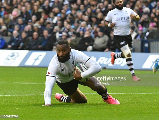 Fijian Centre Semi Radradra scores his side's second try during the International Friendly match between Scotland and Fiji on November 10 2018 in...