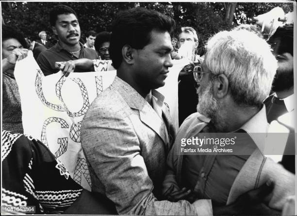 Fijian Demonstration and Public meeting in Hyde Park todayIn Picture Fight Errupted between two rival groups in front of Speakers Platform May 22 1987