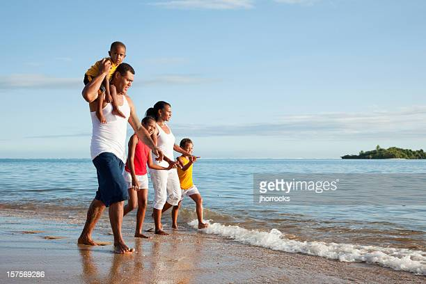 Fijian Family at The Beach