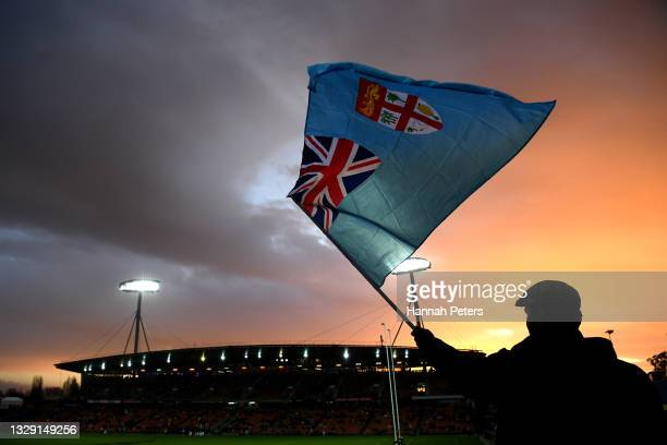 Fijian fan shows their support ahead of the International Test Match between the New Zealand All Blacks and Fiji at FMG Stadium Waikato on July 17,...