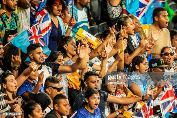 Fijian fans celebrate during the 2020 Sydney Sevens finals match between Fiji and South Africa at Bankwest Stadium on February 02, 2020 in Sydney,...